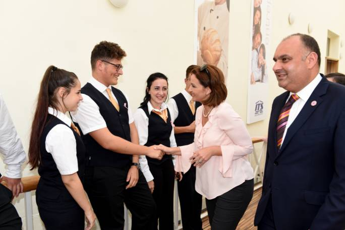 Michelle Muscat greeted by ITS students and staff members